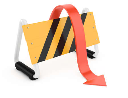 obstacle course: barrier and arrow isolated on white  3d rendered image Stock Photo