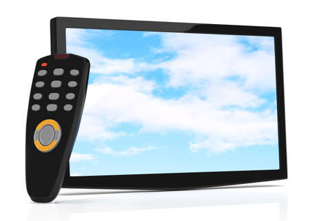 televisor: televisor and remote control isolated on white  3d rendered image