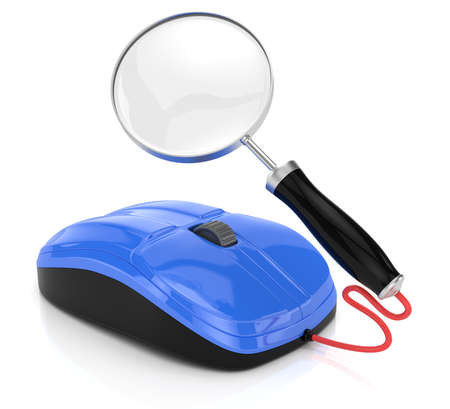 computer mouse and magnifier glass isolated on white  3d rendered image  Internet searching concept