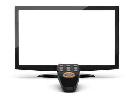 televisor: lcd televisor with blank screen and remote control isolated on white  3d rendered image Stock Photo