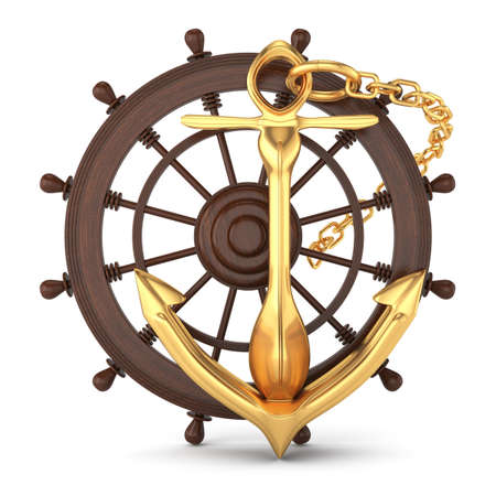 ship helm and golden anchor isolated on white  3d rendered image Stockfoto
