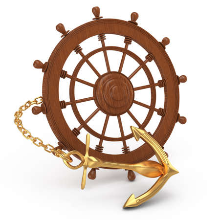 ship wheel and golden anchor isolated on white  3d rendered image photo