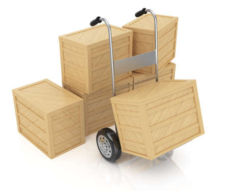 sacktruck:  hand truck and boxes isolated on white  3d rendered image Stock Photo
