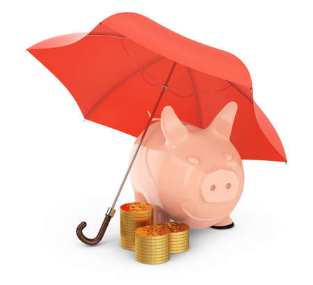 piggybank and gold coins under umbrella isolated on white  3d  money protection concept photo