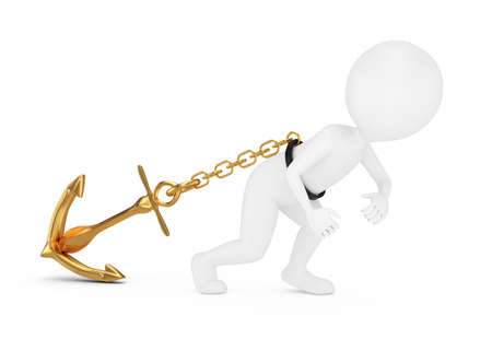 3d man pulls anchor isolated on white