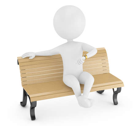 3d man sitting on a bench and looking at watch isolated on white
