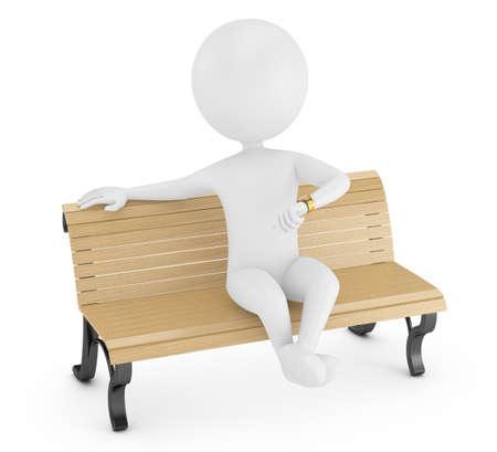 weiß: 3D Mann sitzt auf einer Bank und schaut auf die Uhr isoliert auf weiß