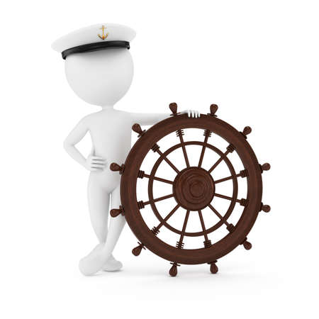 3d man sailor with steering wheel isolated on white background  photo