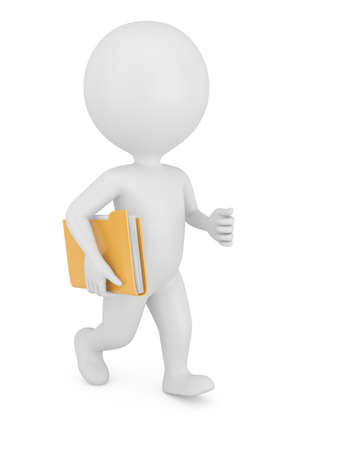 3d man with folder isolated on white background