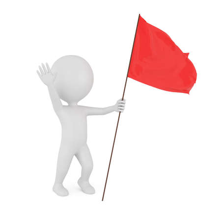 red flag: 3d man with red flag isolated on white background
