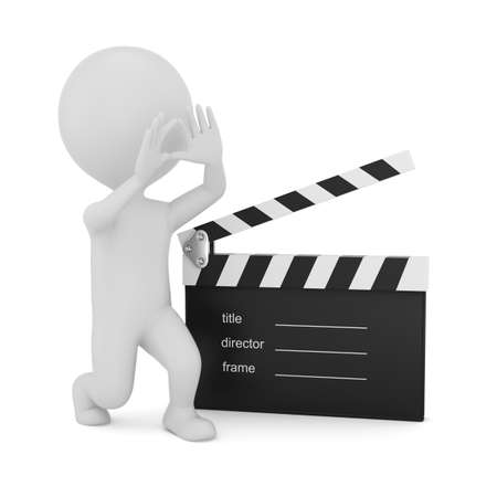 3d man with clapper board isolated on white background