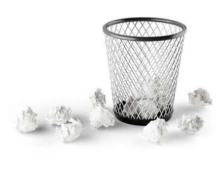 wastepaper: wastepaper basket isolated on white background  3d rendered image