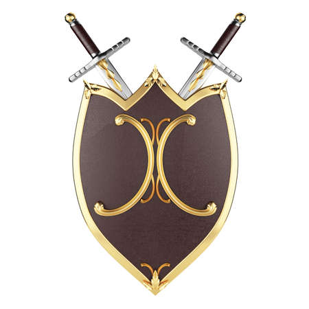 shield and swords isolated on white background  3d rendered image