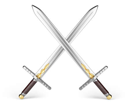 crossed swords isolated on white background   Stock Photo