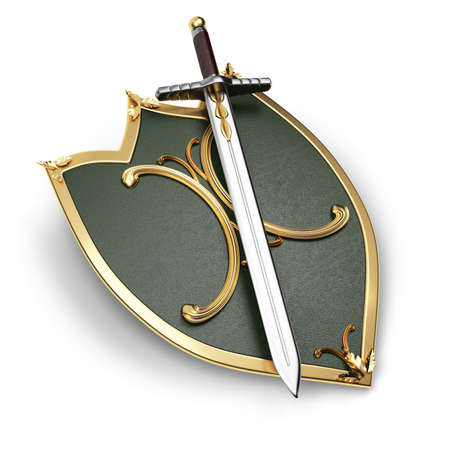 espadas medievales: escudo y espada aislados sobre fondo blanco Foto de archivo