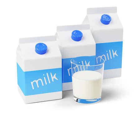 白い背景で隔離の牛乳パック 写真素材