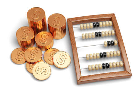 abacus and coins isolated on white background photo