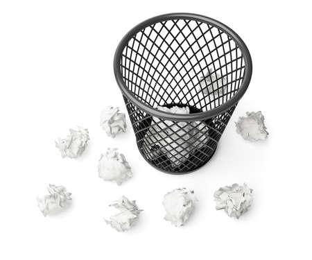wastepaper basket: cestino della carta straccia e carta isolato su sfondo bianco Archivio Fotografico