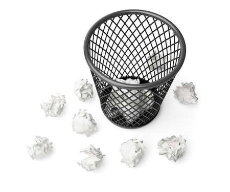 wastepaper basket: wastepaper basket and paper isolated on white background Stock Photo