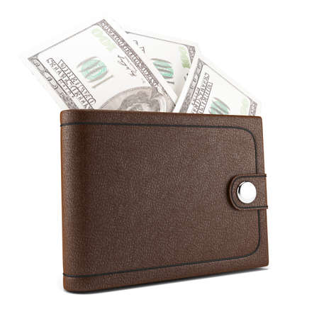 wallet with money isolated on white background  3d rendered image