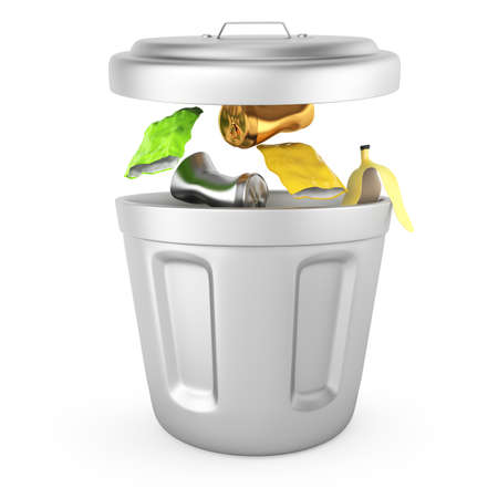 trash can isolated on white background  3d rendered image