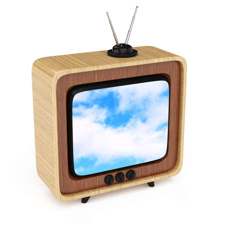 retro tv isolated on white background  3d rendered image Stock Photo - 23071781