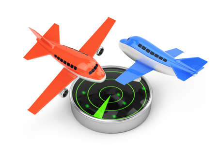 airplanes and radar isolated on white background  3d render photo