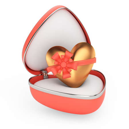 gift box with golden heart isolated on white background  3d render photo