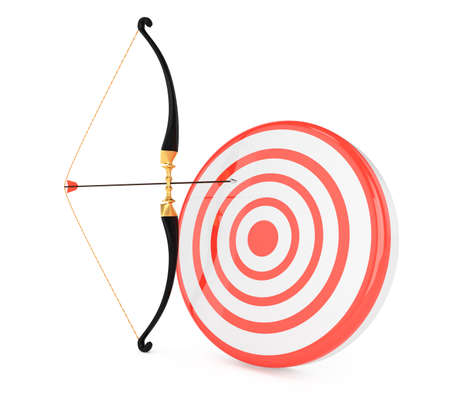 longbow: bow and target isolated on white background. 3d render