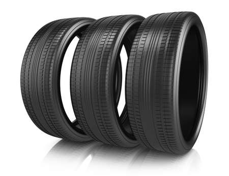 tires isolated on white background  3d render photo