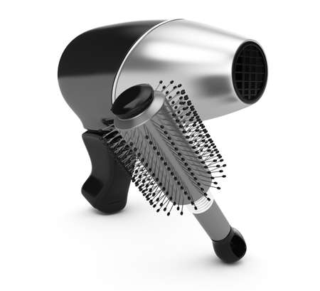 blow drier: hairdryer and comb isolated on white background  3d render Stock Photo