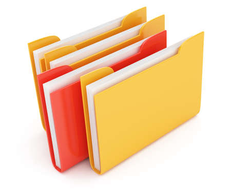 red and yellow folder isolated on white background  3d render Stockfoto