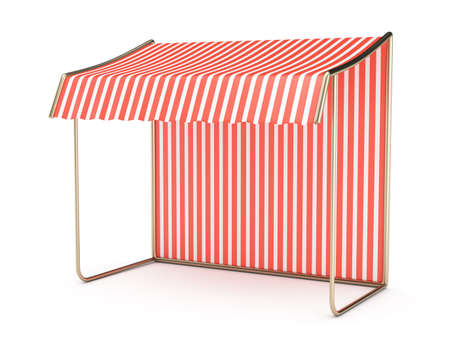 empty striped awning isolated on white background  3d render photo