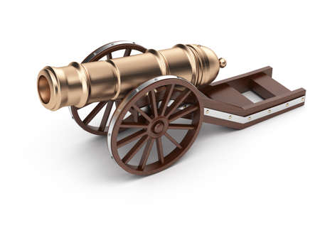 cannon on carriage isolated on white background  3d render