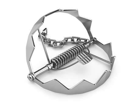 Metal trap isolated on white background  3d render