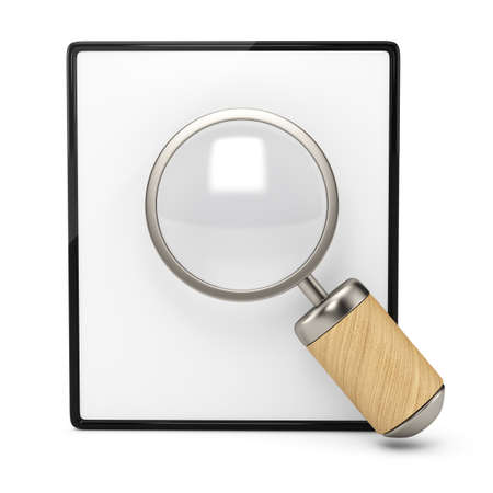 Blank clipboard and magnifier isolated on white background  3d render photo
