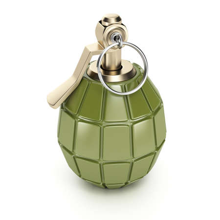 Hand grenade isolated on white background  3d rendered image photo