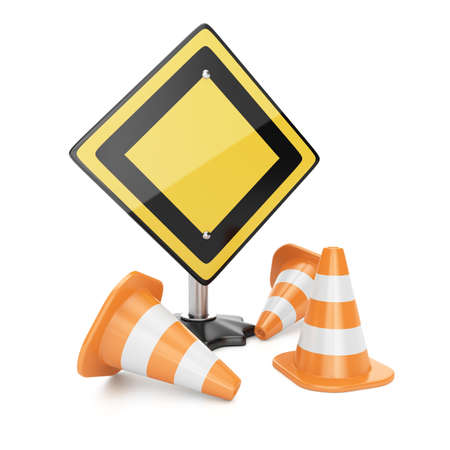 Road sign and traffic cones isolated on white background