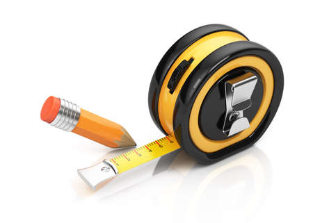 estimate: Tape measure and pencil isolated on white background  3d rendering illustration Stock Photo