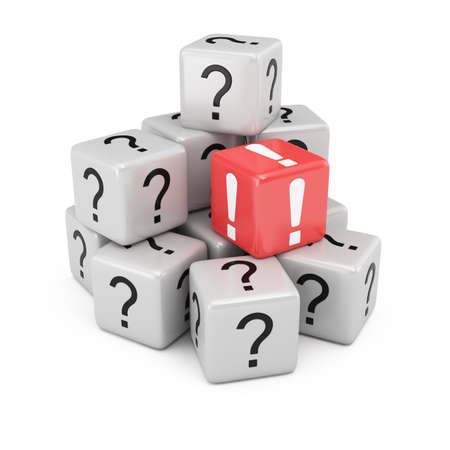 Questions and answer cubes isolated on white background  3d rendering illustration Фото со стока