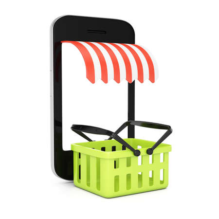 Smartphone with blank screen and shopping basket isolated on white background  mobile store concept  3d rendering illustration