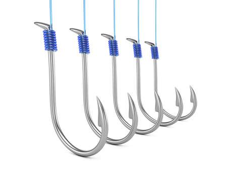 Fishing hooks isolated on white background  3d rendering illustration