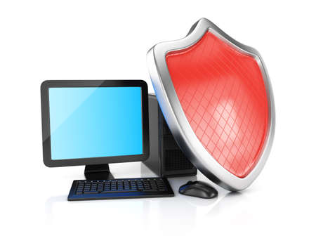 Desktop computer and shield isolated on white 3d rendering illustration illustration