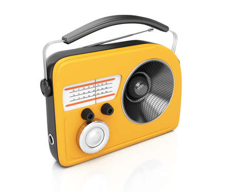 Yellow radio isolated on white 3d rendering illustration