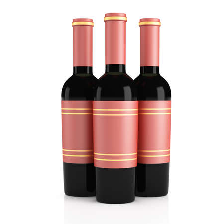 unopened: Wine bottles isolated on white 3d rendering illustration