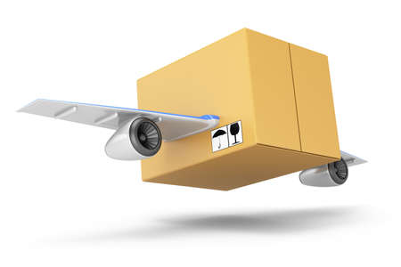 Flying cardboard box isolated on white Quick delivery concept  3d rendering illustration