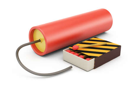 wick: Dynamite and matches isolated on white 3d rendering illustration Stock Photo