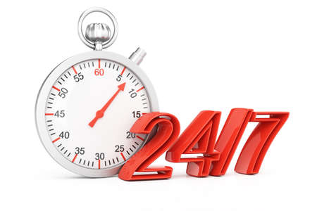 around the clock: Around the clock concept isolated on white background. 3d rendering illustration Stock Photo