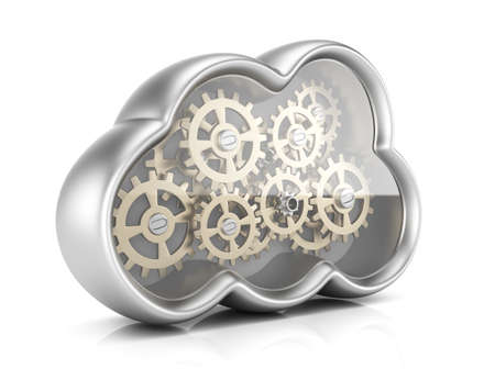 Cloud computing with gears isolated on white background. 3d rendering illustration