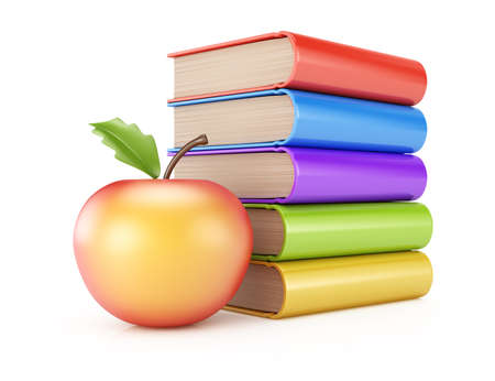 Stack of books and apple isolated on white background  3d rendering illustration Stock Photo